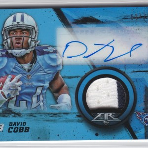 2015 Topps Fire Rookie Autographed Patches Blue /75 David Cobb