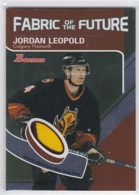 2003-04 Bowman Draft Picks & Prospects Fabric Of The Future #FFP-JL Jordan Leopold /20