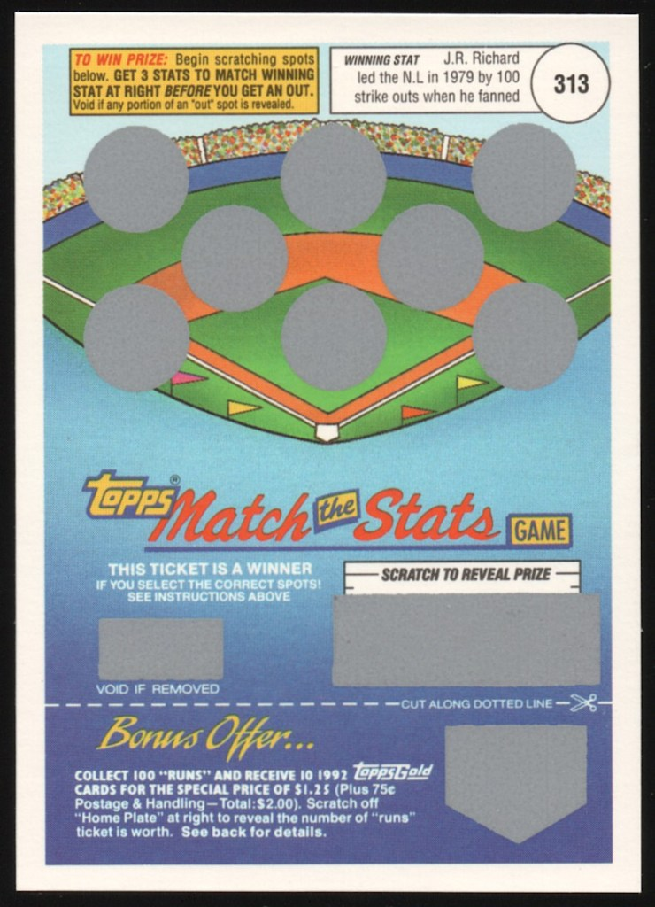 1992 Topps Match The Stats Game
