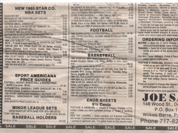 1984 and 1985 Star Basketball Sets For Sale