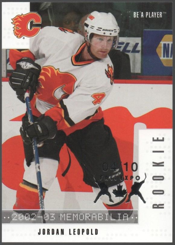 2002-03 Be A Player Memorabilia Fall Expo #283 Jordan Leopold /10