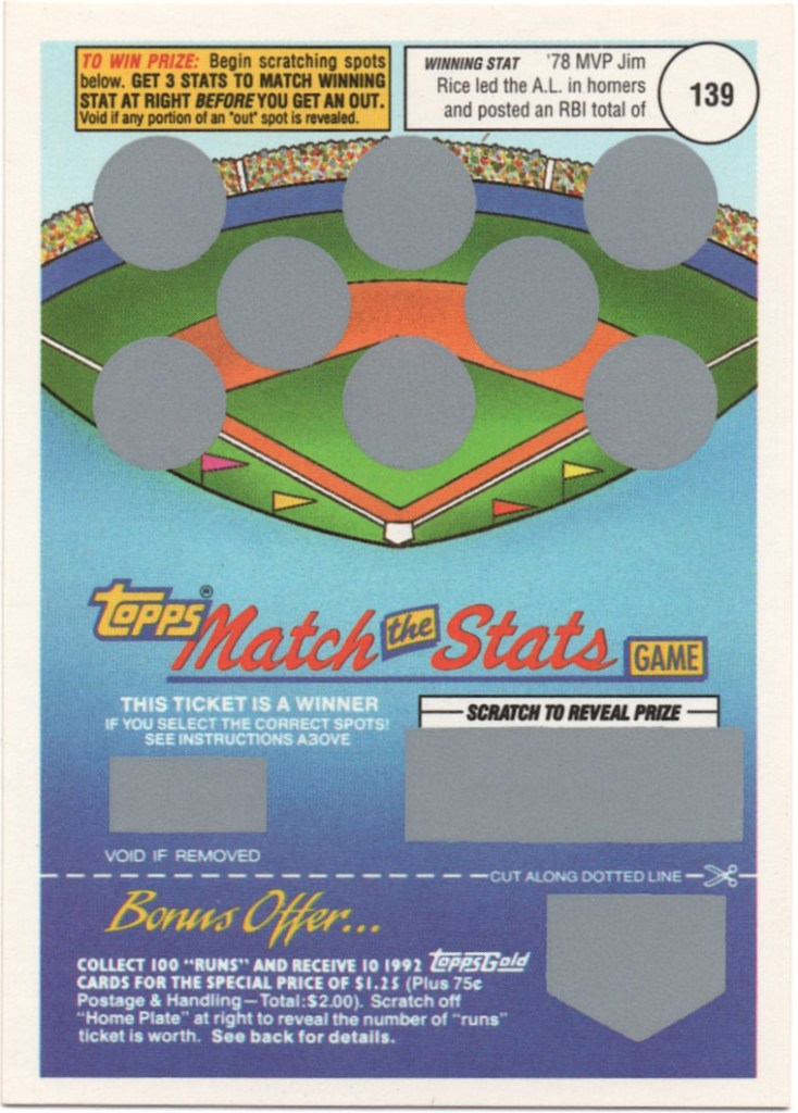 1992 Topps Match The Stats Game Jim Rice