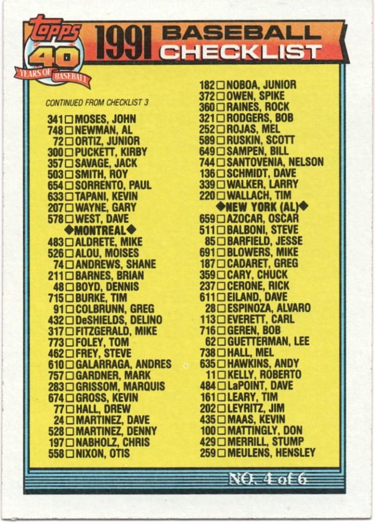 1991 Topps #527 Checklist 4 (error)