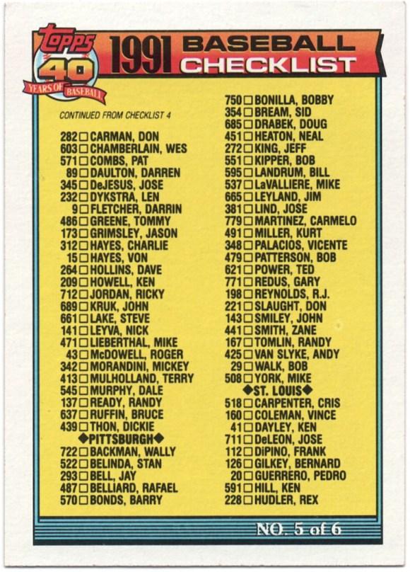 1991 Topps #656 Checklist 5 (error)