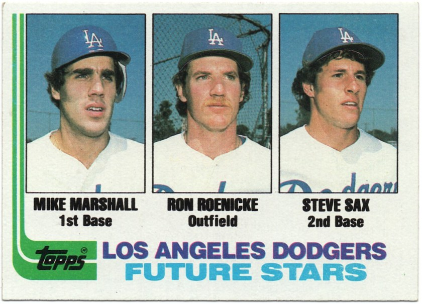 1982 Topps #681 Dodgers Future Stars - Mike A. Marshall / Ron Roenicke / Steve Sax