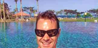 By the swimming pool at Putri Bali Hotel in Indonesia