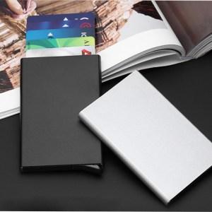 Automatic pop up ultra-slim aluminum RFID credit card holder