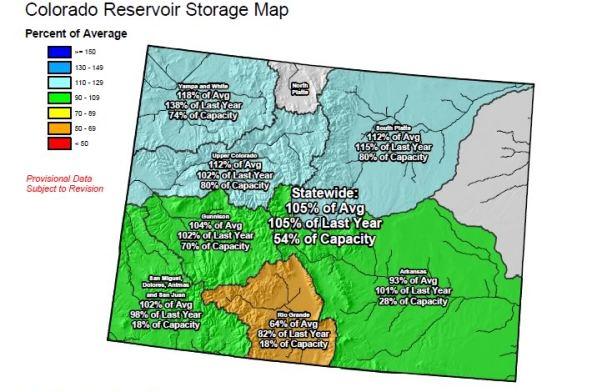 Colorados Current Snowpack And Reservoir Storage Baseline - Us snowpack map