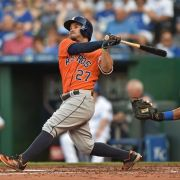Jun 25, 2016; Kansas City, MO, USA; Houston Astros second basemen Jose Altuve (27) hits a three-run home run against the Kansas City Royals during the second inning at Kauffman Stadium. Mandatory Credit: Peter G. Aiken-USA TODAY