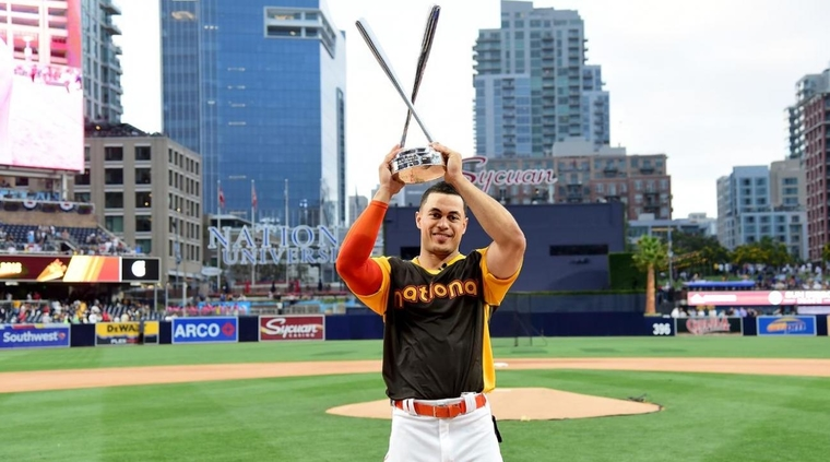 Giancarlo Stanton of the Miami Marlins celebrates after winning the Home Run Derby at PETCO Park in San Diego, California. (Photo by Harry How/Getty Images)