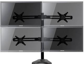 Soporte con 4 brazos para sujetar cuatro pantallas de