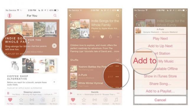 كيفية إضافة الأغاني إلى تطبيق الموسيقى في آبل
