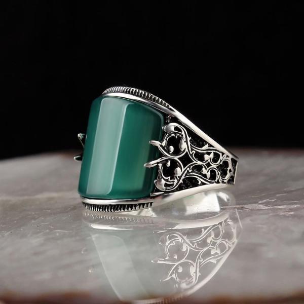 خاتم فضة حجر العقيق موديل 25