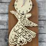 ساعة حائط خشب درويش مولوي مع خط عربي
