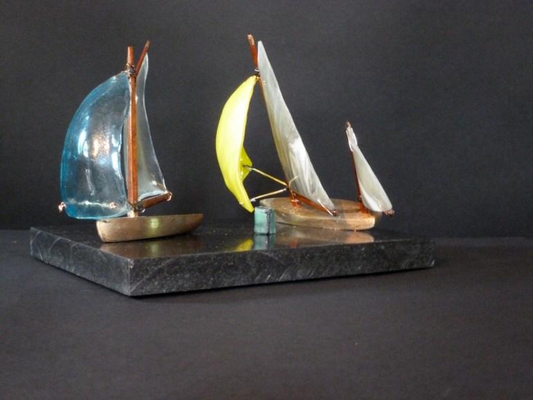 Title: Making the Mark II bronze, glass and mahogany