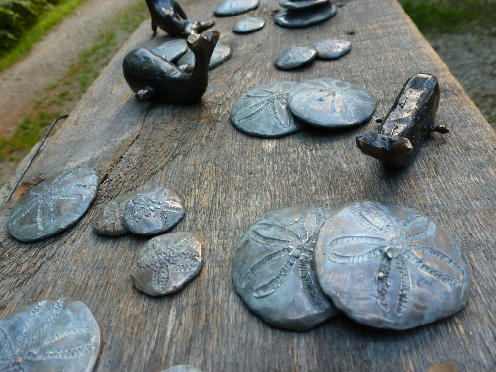 Sand Dollars and Small Whales bronze sculptures