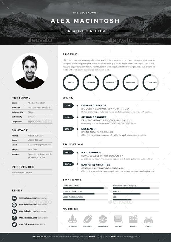 20 Best Resume Templates  Web  Graphic Design  Bashooka