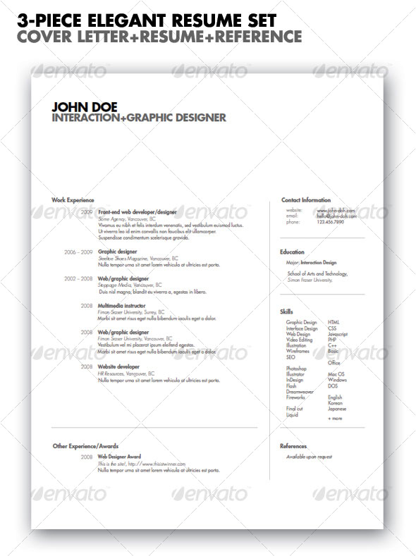 20 Best Resume Templates Web & Graphic Design Bashooka