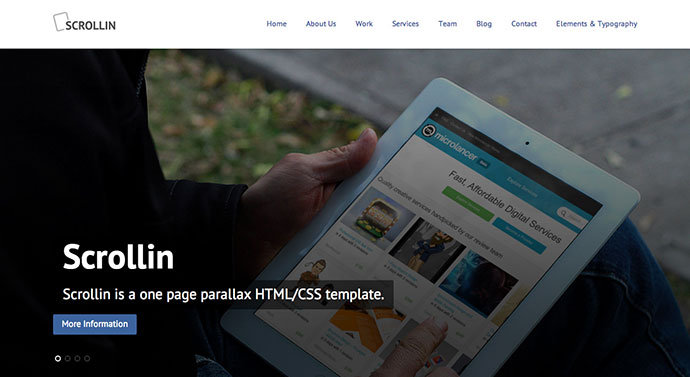 Scrollin - One Page Parallax Responsive HTML