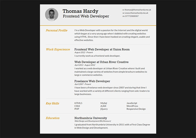 28 Free CV Resume Templates HTML PSD & InDesign Web