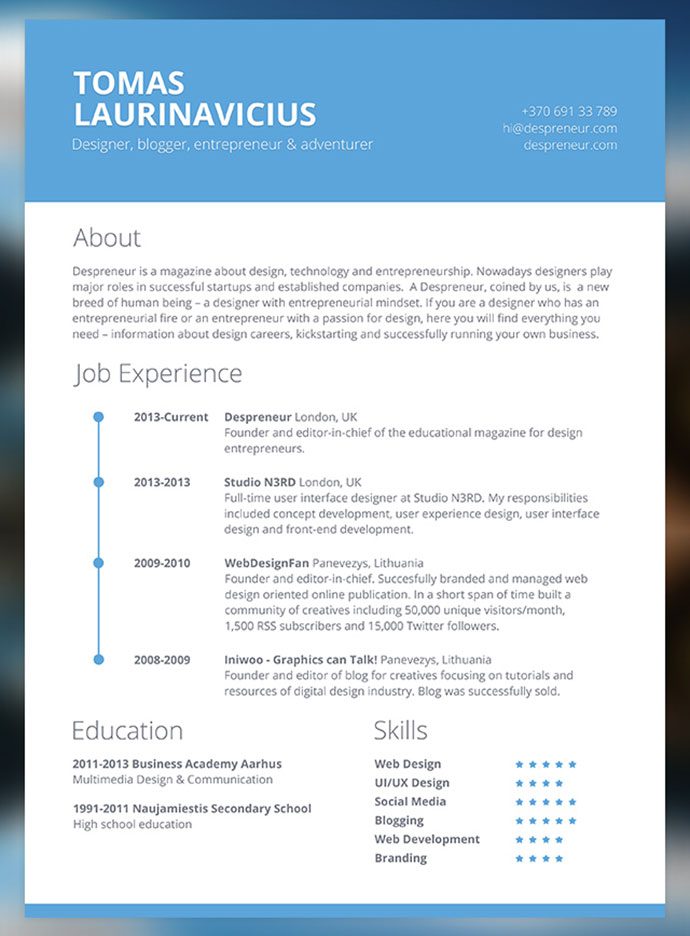 examples of a modern easy resume