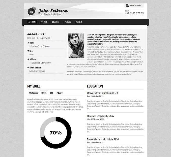 50 Professional HTML Resume Templates Web & Graphic