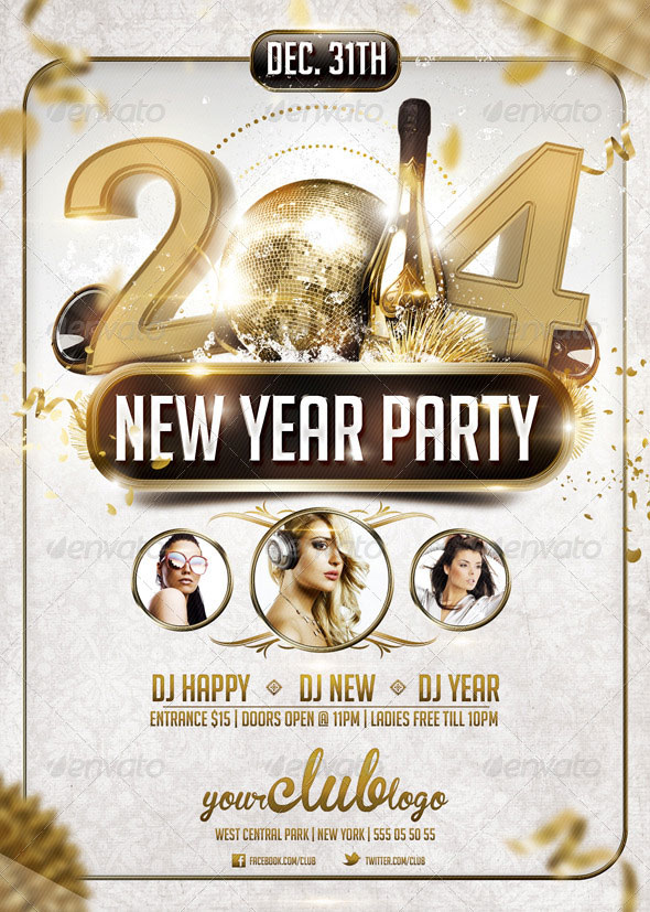 25 Christmas  New Year Party PSD Flyer Templates  Web  Graphic Design  Bashooka