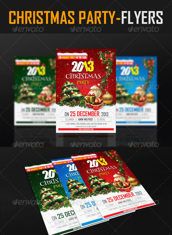 25 Christmas & New Year Party PSD Flyer Templates Web