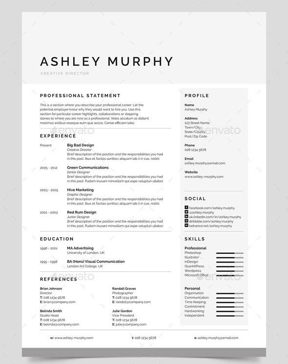 clean resume designs