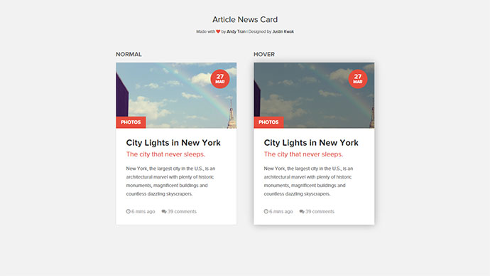 25 Cool CSS Card UI Examples Web & Graphic Design Bashooka