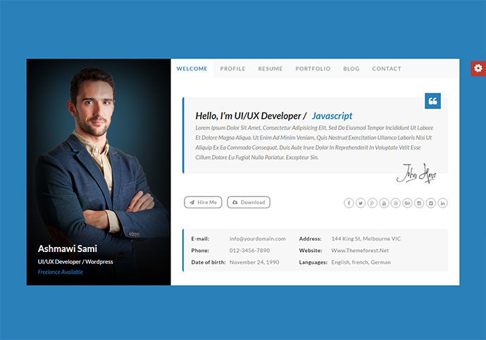20 Best Personal VCard & Resume HTML Templates Web