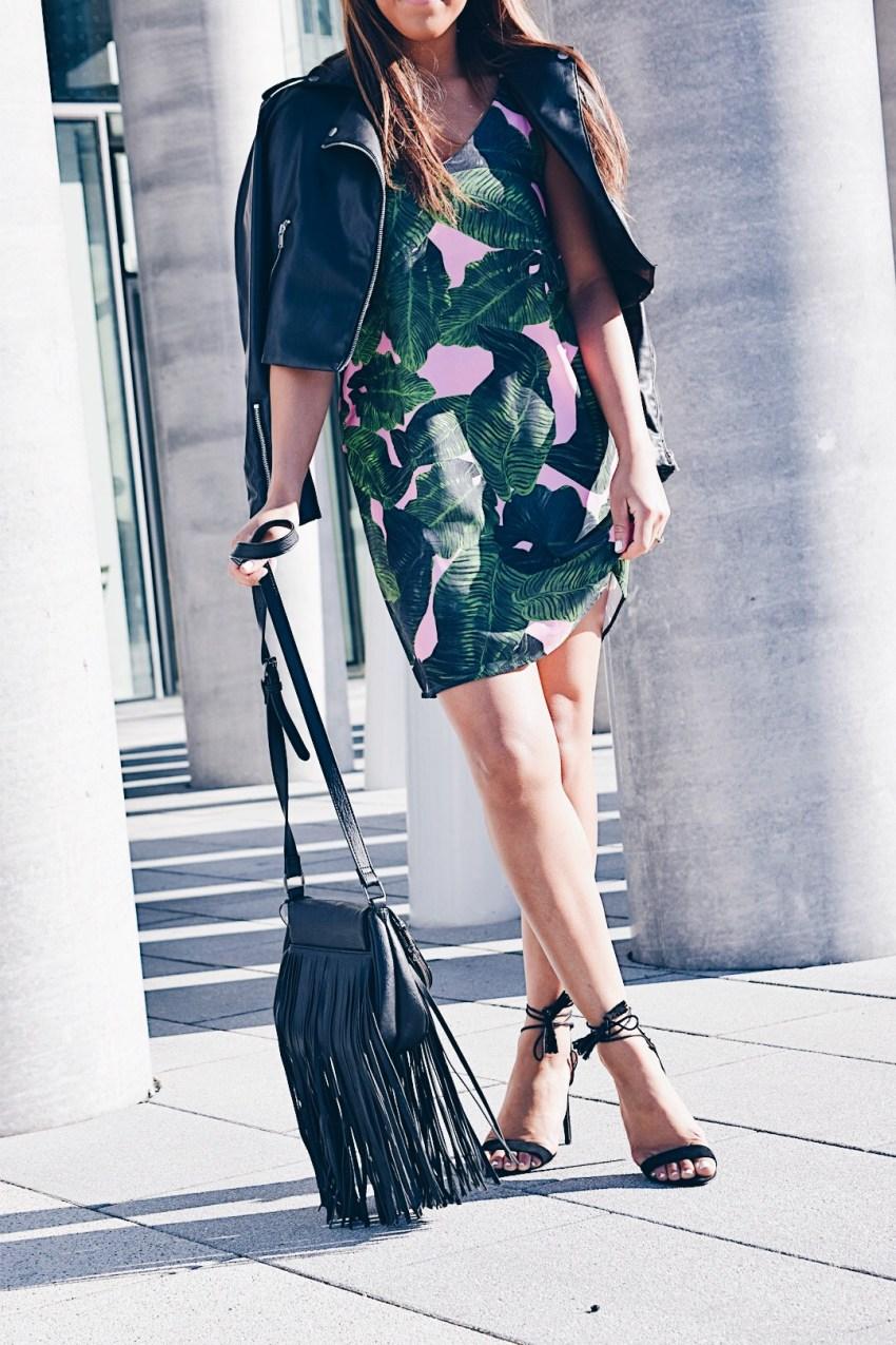 palm print slip dress