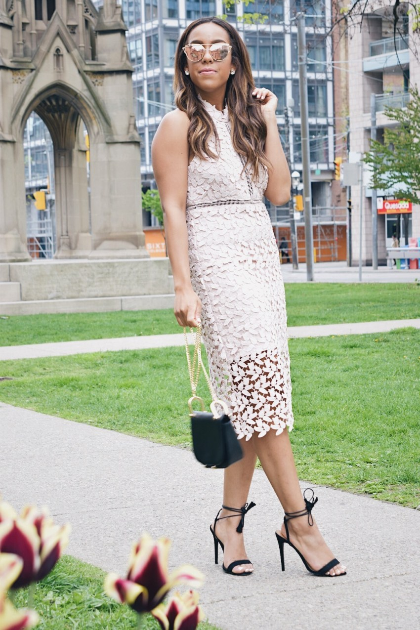 Fashion Blogger Lauren Sheriff of Basic Babe wearing a guest of wedding dress from Marshalls