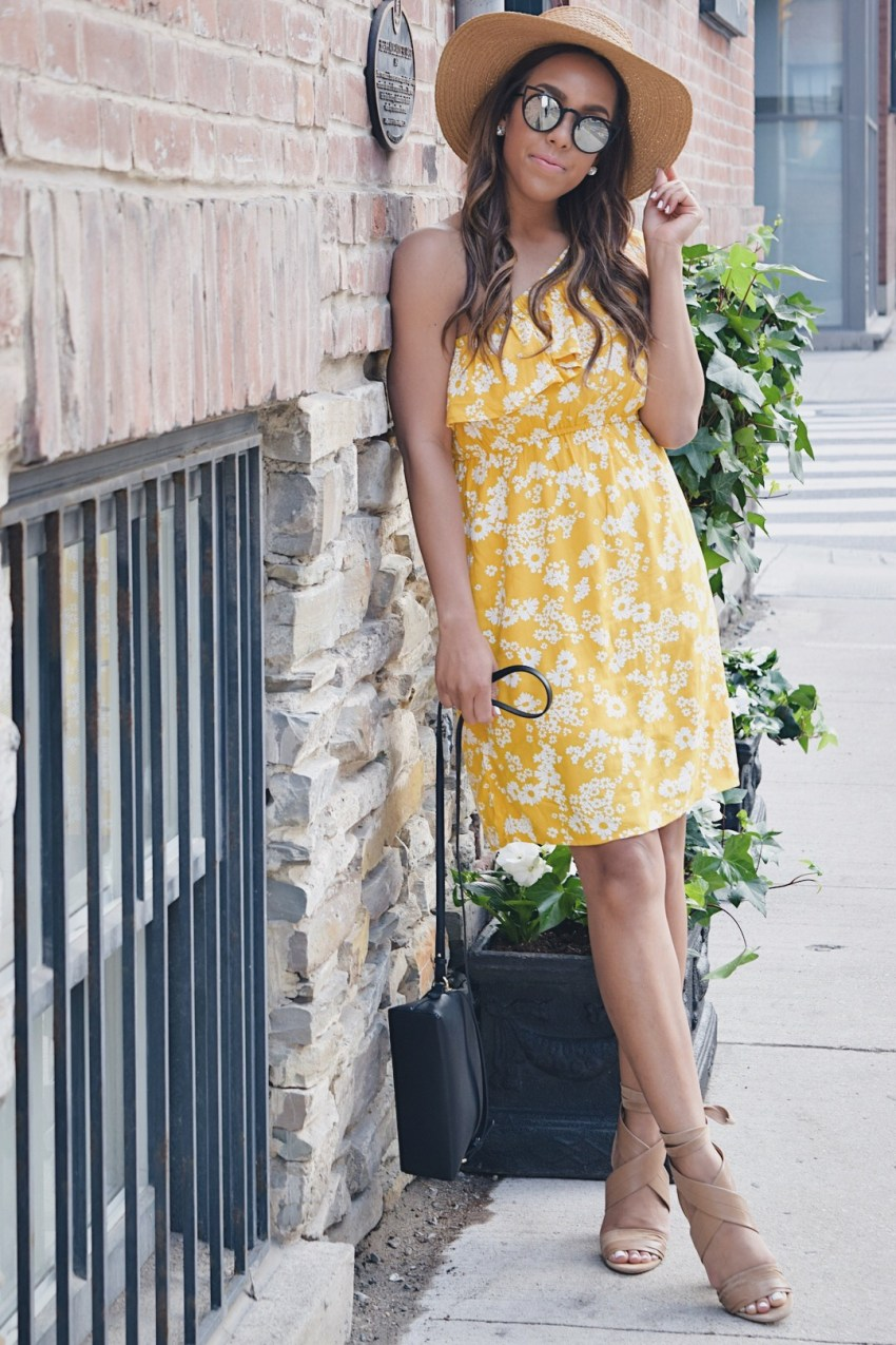 Fashion Blogger Lauren Sheriff Wearing a One Shoulder Dress from Old Navy