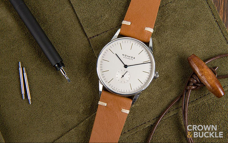 Crown & Buckle Black Label Collection - Brown Leather Strap on Nomos Watch