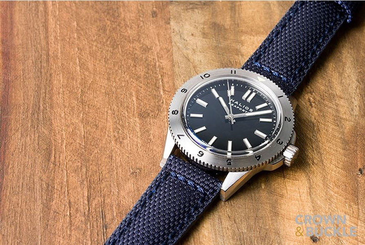 Crown & Buckle Phalanx Navy Canvas Watch Strap on Halios Watch