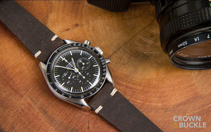 Dark Brown Crown & Buckle Leather Strap on Omega Speedmaster
