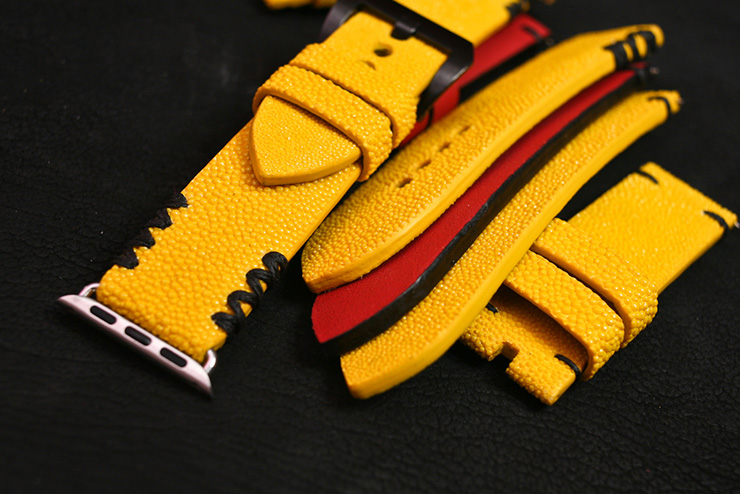 Yellow stingray straps and official Maserati red colour calf strap for Apple iWatch and Panerai by Maverick Custom Handmade