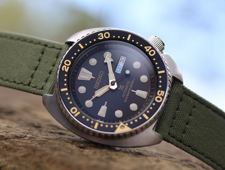 Seiko Turtle Watch on Barton Bands Canvas Strap