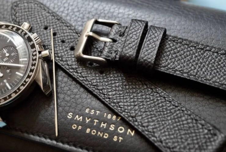 Jones in Tokyo Custom Black Epsom Leather Watch Strap on Omega Speedmaster