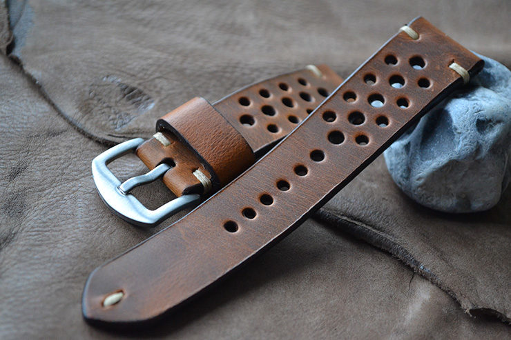 Neptune Strap Brown Leather Perforated Watch Strap