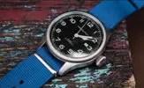 Barton Watch Bands Blue NATO Style Strap on Hamilton Khaki Pioneer