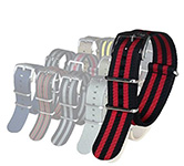 Blueshark Premium Nylon NATO Strap - Black and Red