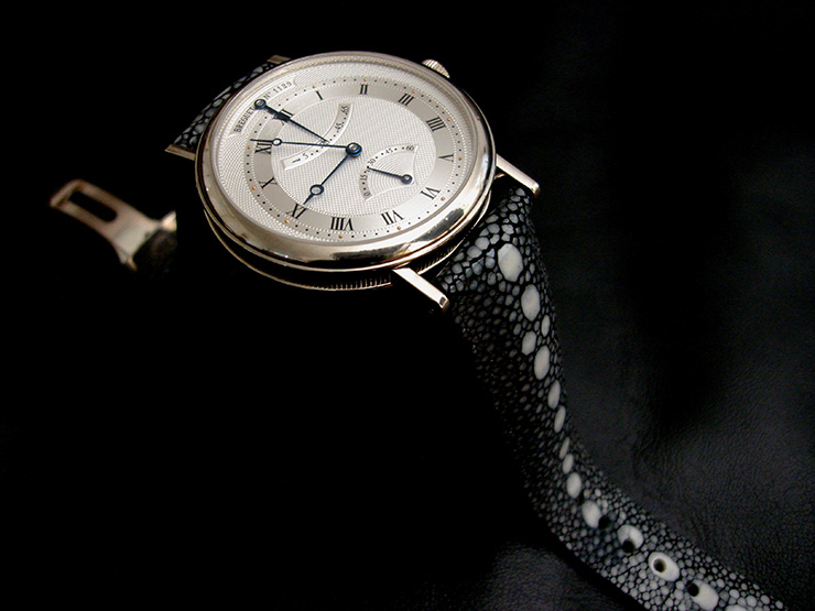 Classic Breguet 5207 on Black Row Stone Stingray Watch Strap