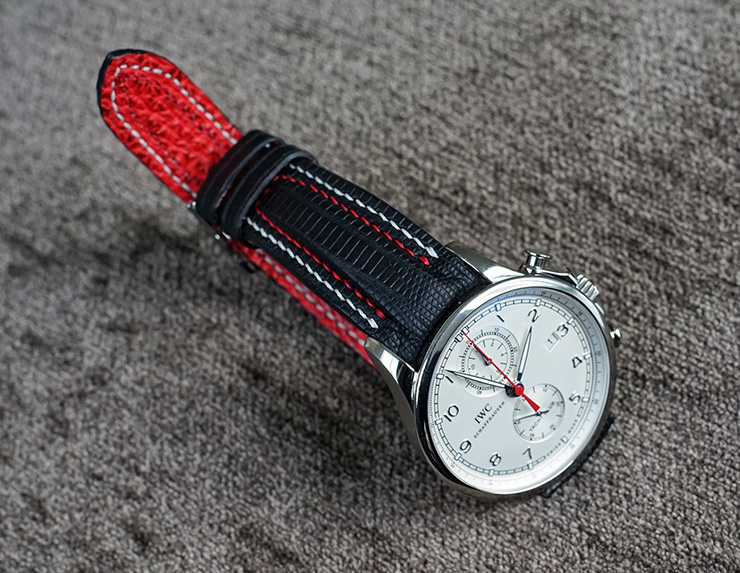 IWC Portuguese Yacht Club Chronograph on SuperMatte Teju Lizard Watch Strap with Double Row Stitching and Red Sharkskin Lining