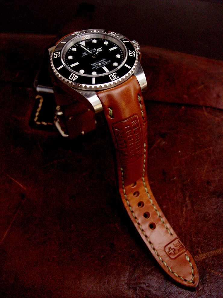 Rolex Submariner on 1967 Swiss Ammo watch strap with Padding at the lugs and our Thick Curved Lug System TCLS