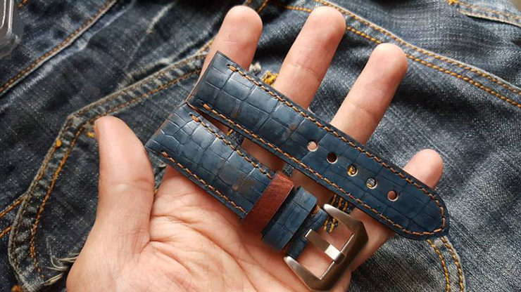 Two One Four Straps – Hand painted Vintage Denim Croc print Watch Strap