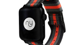 Black Grey and Red NATO Style Apple Watch Band by Nyloon