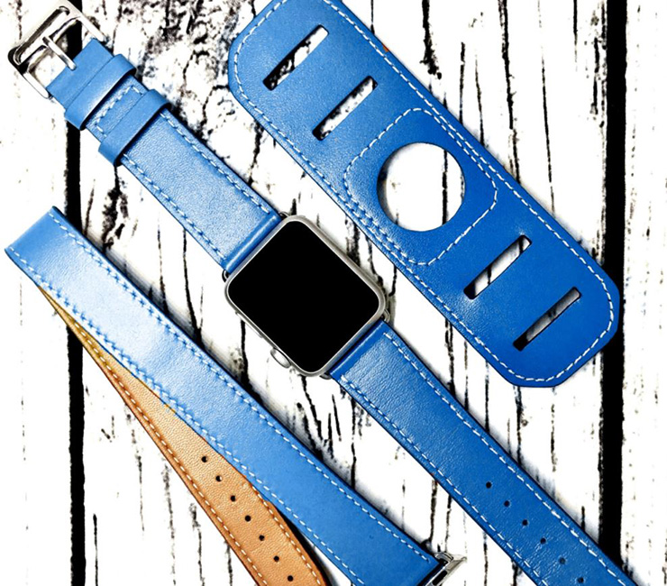 Blue Leather Apple Watch Band by RustikLeather
