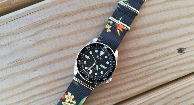 Flower Graphic NATO on Seiko SKX007 Diver